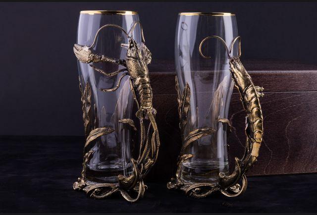 Пара бокалов для пива Рак и Креветка премиум в подарочной коробке