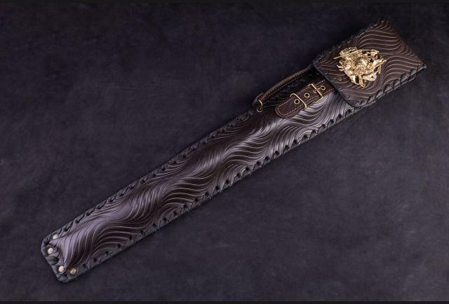 Чехол для шампуров модель №1 Накладка Охотник (натуральная кожа, накладка из латуни охотник)