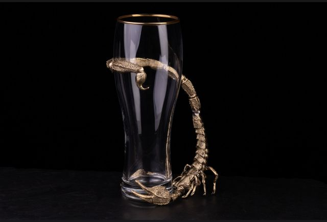 Бокал для пива Скорпион (Латунь, стекло)