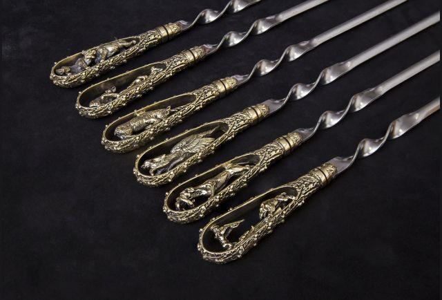 Набор шампуров Охотничьи трофеи (ручка литье латунь) 6 шт