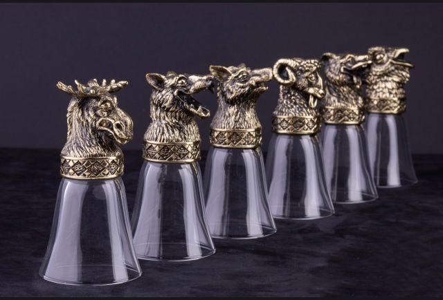 Стопки подарочные Пьяные звери 6 шт (Латунь, стекло)