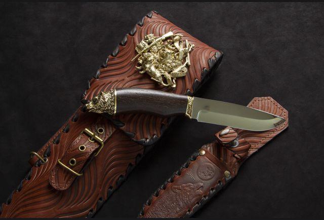 Чехол для шампуров модель №2 с накладкой Охота и ножом (цвет коньяк)