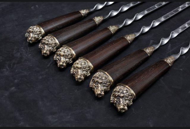 Набор шампуров Лев (рукоять венге, литья латунь) 6 шт