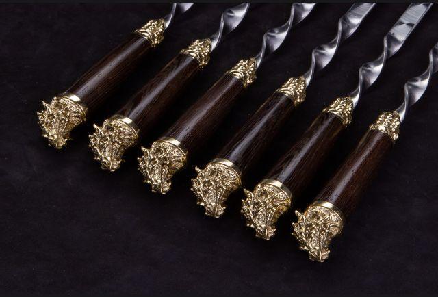 Набор шампуров Дракон (рукоять венге, литья латунь) 6 шт
