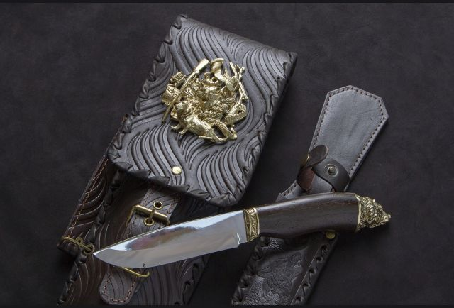 Чехол для шампуров модель №1 с накладкой Охотник и ножом
