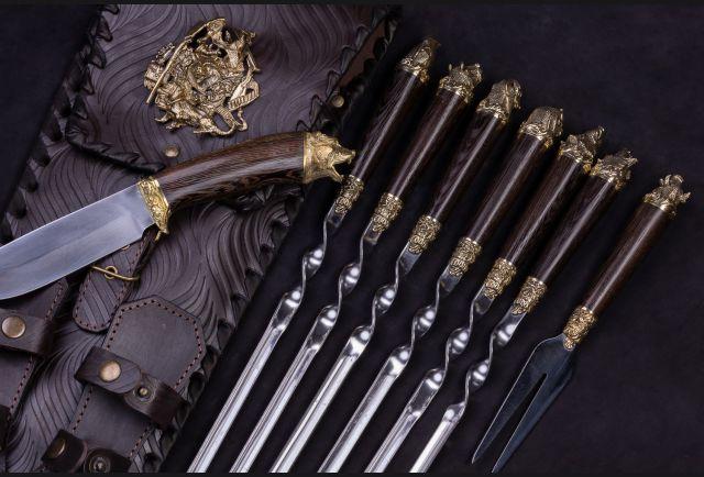Набор шампуров в чехле с ножом и вилкой Русский пикник