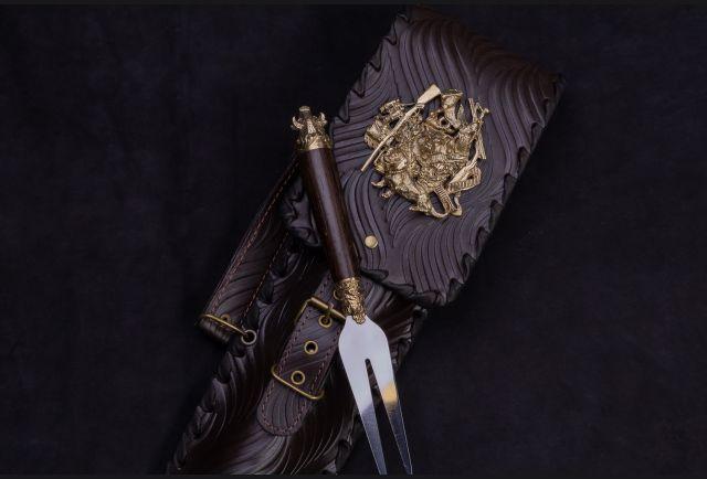 Чехол для шампуров модель №1 Накладка Охотник с вилкой для шашлыка Звери стандарт №1