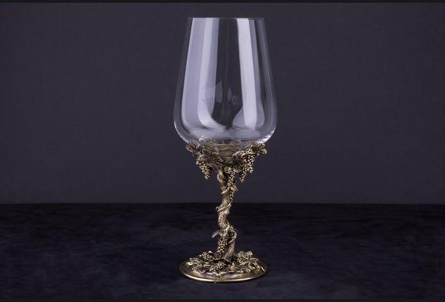 Бокал для вина Виноградная лоза (латунь, стекло)