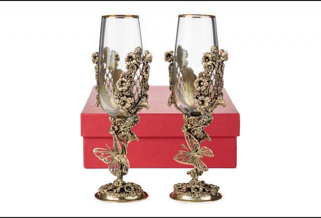 Бокалы для шампанского Цветочная фантазия (2 шт в коробке)