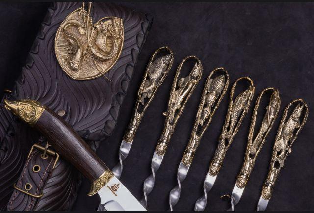 Набор шампуров в чехле с ножом Рыбалка №2