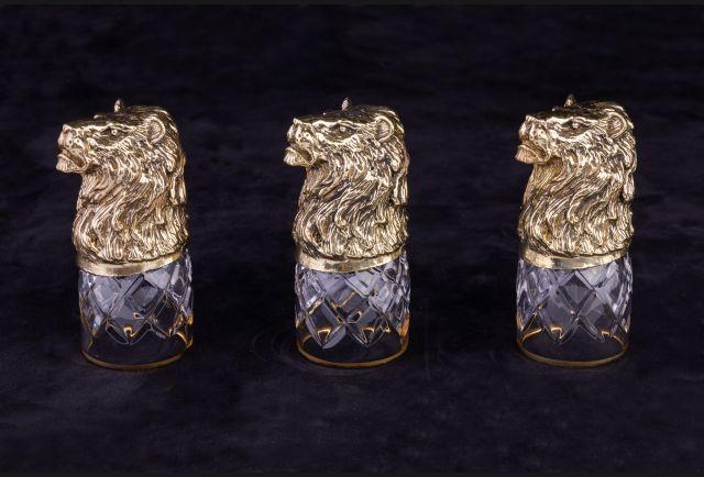 Стопки подарочные Лев из латуни 3 или 6 шт