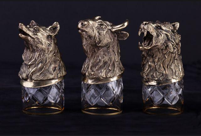 Стопки подарочные Могучие звери из латуни 3 или 6 шт