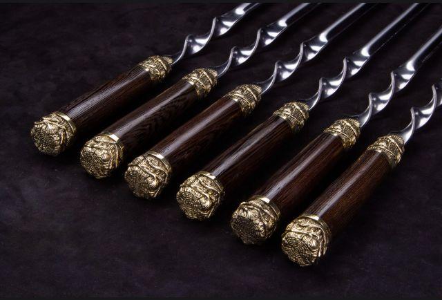 Набор шампуров Древесная лоза Премиум (рукоять венге, литье латунь) 6 шт
