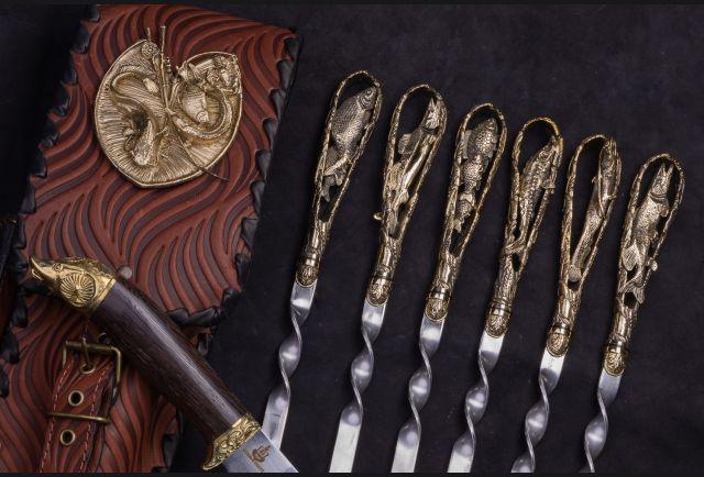 Набор шампуров в чехле с ножом Рыбалка №1