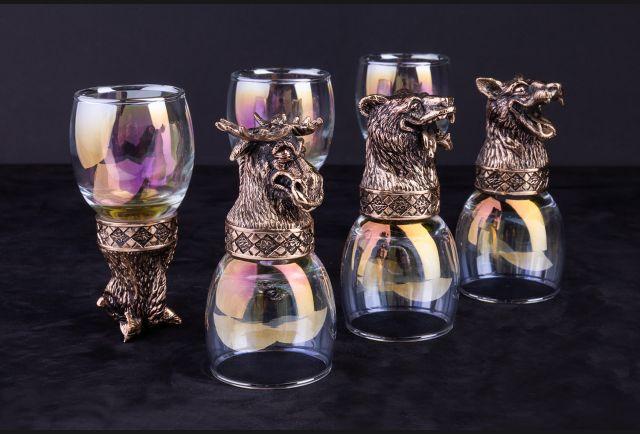 Стопки Пьяные звери из бронзы 6 шт (бронза, перламутровое стекло)