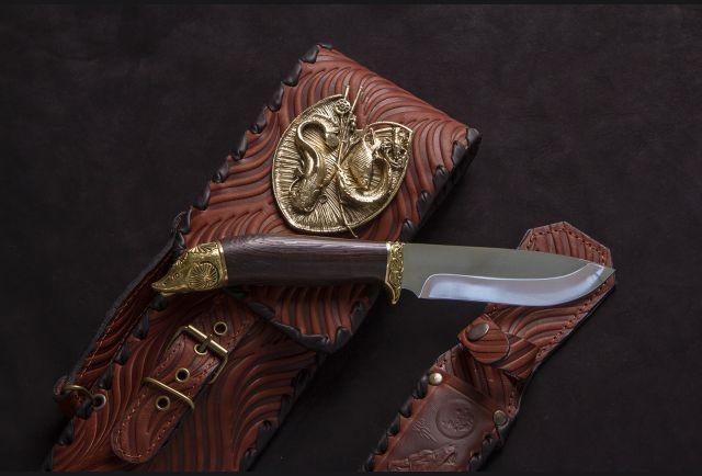 Чехол для шампуров модель №2 с накладкой Рыбак и ножом (цвет коньяк)